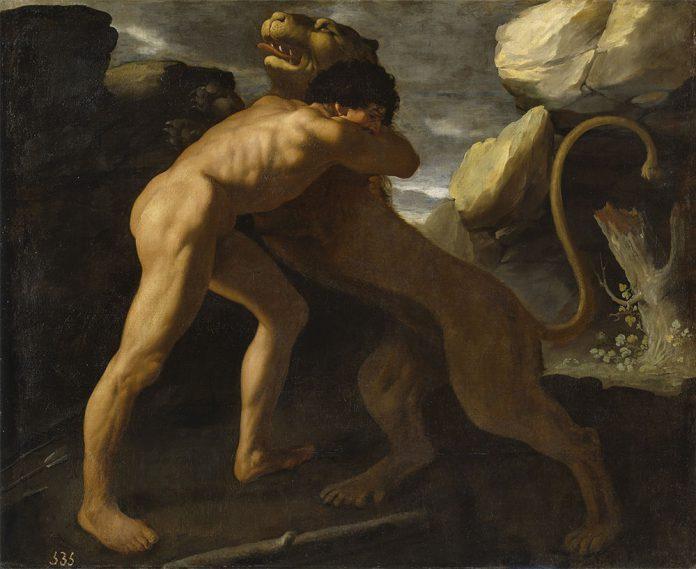 Hércules lucha con el león de Nemea.Francisco de Zurbarán (1598–1664)