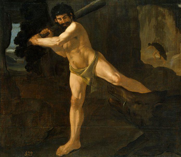 Heracles y el Jabalí de Erimanto, por Francisco de Zurbarán.1634. Museo del Prado.