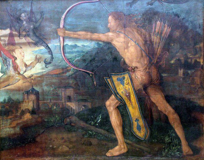 Hércules mata a las aves del lago Estínfalo. Alberto Durero. 1500.